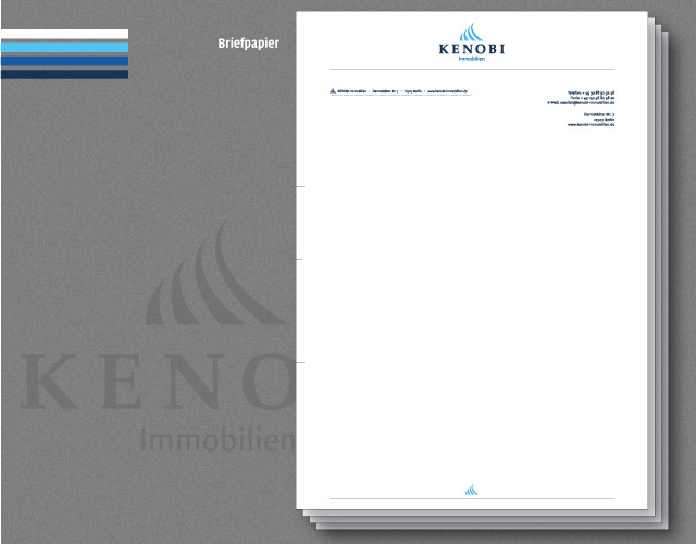 corporate-design branding Kenobi Immobilien Briefpapier