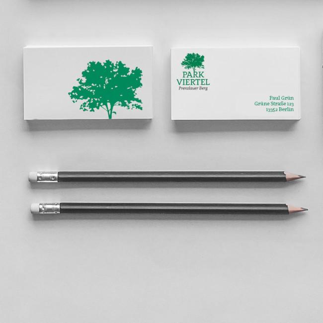 Corporate Design Parkviertel Prenzlauerberg Visitenkarten