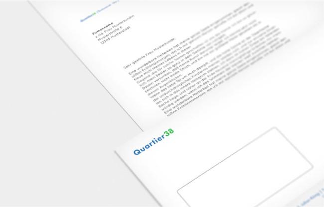 Corporate Design Quartier 38 Briefpapier Printdesign