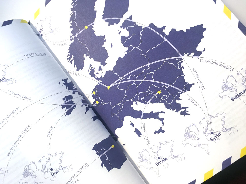 Eine Karte von den Herkunfts- und Wohnorten der Erzählerinnen
