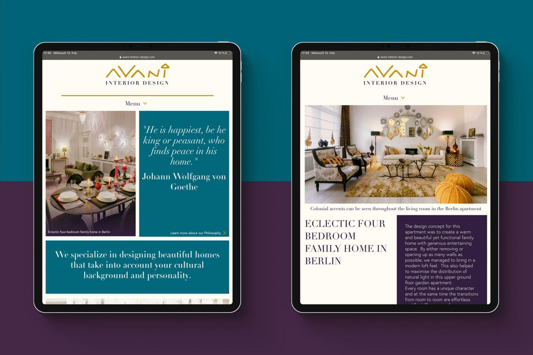 Vorschau-Bild: Webdesign und Umsetzung für Avani Interior Design