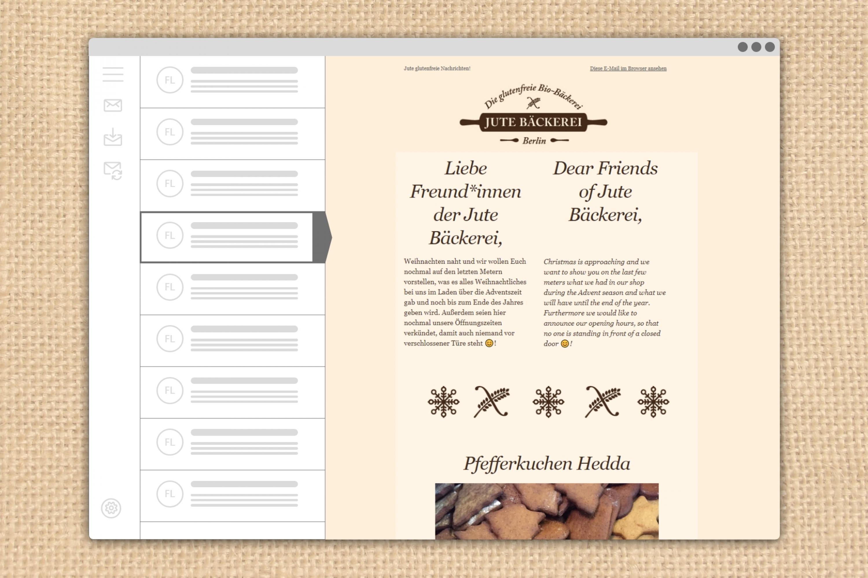 E-Mailing Newsletter Jute Bäckerei